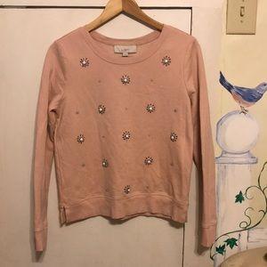 Loft pink jeweled crewneck sweater